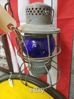 #1 Vintage Adlake KERO Signal Blue Railroad Lantern
