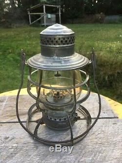1889 Antique LVRR Lehigh Valley Railroad Lantern R. R. Signal Lamp Co. Cast