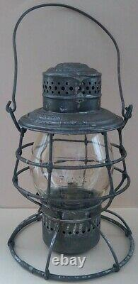 1895 Burlington Route Railroad Lantern with Tall Clear Embossed Globe