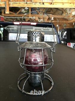 1895 Burlington Route Railroad Lantern with Tall Red Embossed Globe
