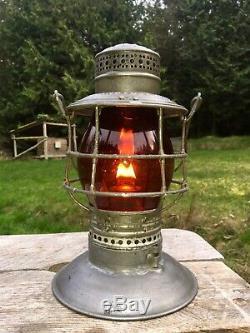 1895 PRR Pennsylvania Railroad Lantern Amber Etched ERRCo Corning 1902 Pat Globe