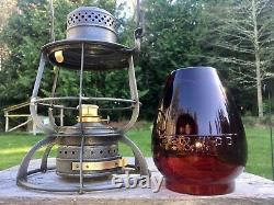 1897 PB&W Philadelphia Baltimore & Washington Railroad Lantern ARMSPEAR Red Cast