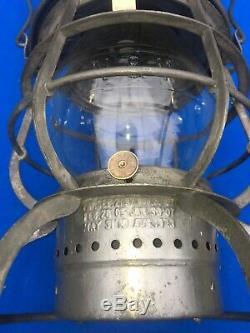 1913 N&W Norfolk & Western Railroad Lantern Armspear Clear Cast Corning Globe