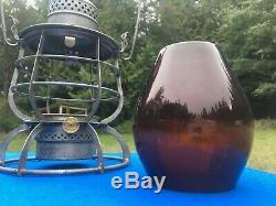 1913 NP Ry Northern Pacific Railroad Lantern Armspear Amber Acid Etched Globe Ra