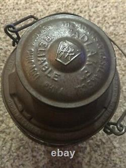 1922 Adlake Pennsylvania Lines RAILROAD LANTERN With Red Tall Embossed Globe