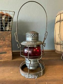 1930s-40s NICKEL PLATE ROAD NKP Adlake Railroad Lantern With Red Globe