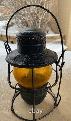 1950's Adlake Railroad Kerosene Lantern, Southern Pacific Amber/Orange Globe
