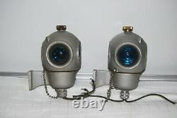 2 VINTAGE PYLE 4 SIDED RAILROAD TRAIN CABOOSE LIGHTS Red/Blue