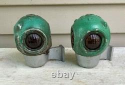 2 VINTAGE Pyle 4 Sided Railroad Train Caboose Marker Lamps Glass Intact