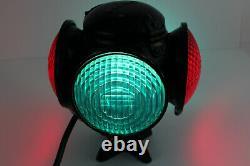 ADLAKE ADAMS WESTLAKE Red&Green 4-Way Train Switch Marker Railroad Lamp Lantern