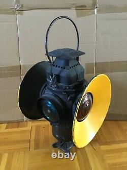 ANTIQUE ADLAKE RAILROAD SWITCHLAMP INTACT Incl. BURNER AND GLASS CHIMNEY 1800s