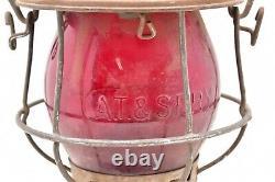 ANTIQUE Rare SANTA FE BELL BOTTOM RAILROAD LANTERN RED CAST AT&SFRY GLOBE VTG
