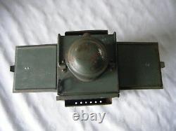 ANTIQUE VINTAGE GREEN FRENCH RAILWAY LAMP LANTERN CANDLE TYPE 15cmX11.5cmX26cm