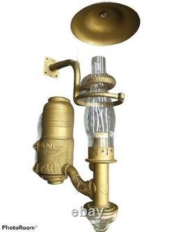Adams & Westlake Co. 1885 1890 Antique Brass Railroad Dining Car Side Lamp