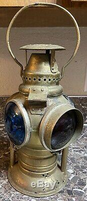 Adlake Antique Early 1900s Non Sweating 4 way Railroad Lamp Switch Red Blue Used