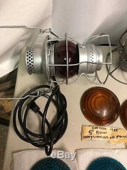 Adlake Kero Railroad Lantern Lot Of 2, & Kopp Lens, & Clear/red Glove Lot Lights