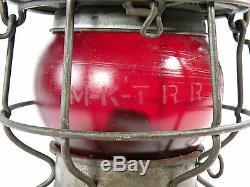 Adlake-Kero Railroad Lantern M-K-T Embossed Globe & Skirt 3-34 Vintage