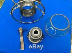 Antique 1889 Union Pacific Railroad Lantern A&W Clear Cast Ext. Base Globe BOLD