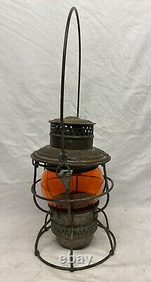 Antique 1920s Adlake Railroad Lantern C. ST. P. M & O Rare Amber Orange Globe