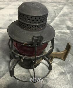 Antique 1925 ARMSPEAR CO NY RAILROAD Lantern Red Globe Oil Kerosene