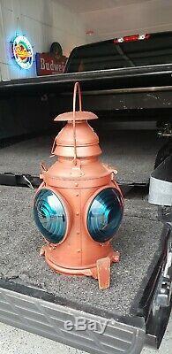 Antique 1930s Handlan St. Louis 4-Way Railroad Lantern