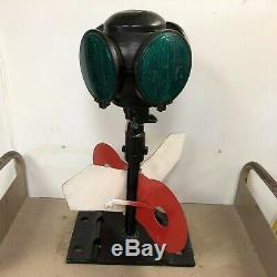 Antique ADLAKE RAILROAD Switch Directional Signal Lamp Cast Iron Base NICE RARE