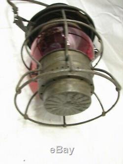 Antique Adams Westlake PRR PA Railroad Lantern Red Globe Kero Lamp