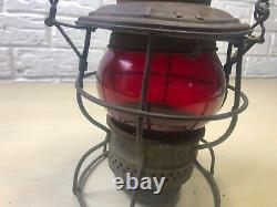 Antique Adams & Westlake Train Railroad Lantern RED'SOUTHERN Ry' Globe L4