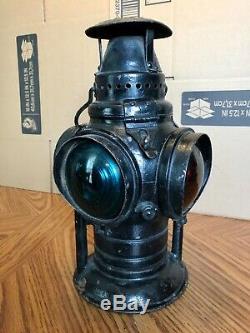 Antique Adlake Non Sweating Railroad Signal Lantern Round top
