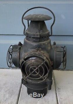 Antique Adlake Non Sweating Santa Fe Railroad Lantern Lamp Light with Lens Guards