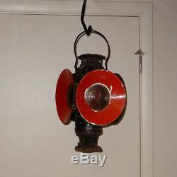 Antique Adlake Railroad 4 Lens Non Sweating Switch Lantern Lamp Excellent