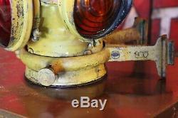 Antique Adlake Santa Fe Railroad Lantern Lamp Light old yellow paint and bracket