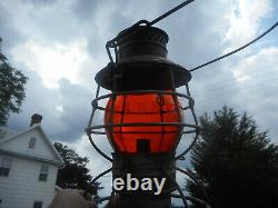 Antique B&O Railroad Lantern with Rare Orange etched Globe. Rare B&O RR Lantern