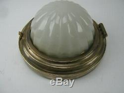Antique Cast Brass Pullman Railroad Car Flush Mount Ceiling Fixture with mounting