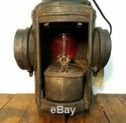 Antique Dressel 4-Way Red Green Railroad Switch Signal Lantern, Rutland Railway