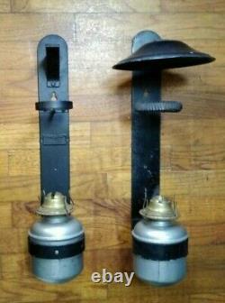 Antique Dressel Railroad Lantern Set Wall Mount Oil Lamps Caboose Train Car RR