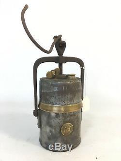 Antique Early Unusual Carbide Lamp PREMIER England Railway Inspectors Lantern