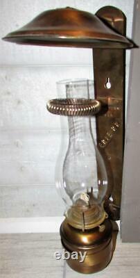 Antique Handlan St Louis Erie RR Railroad Caboose Oil Bracket Lamp Brushed Brass