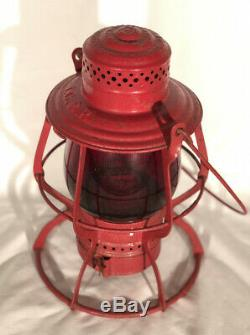 Antique ICRR Illinois Central Railroad Lantern A&W THE ADAMS With Red Globe RARE