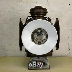 Antique Industrial Railroad Railway Oil Lamp 4 way Signal Lantern Steampunk