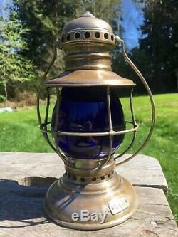 Antique PULLMAN Railroad Lantern with Cobalt Blue Corning Globe A&W Q3 1800's