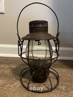 Antique Pere Marquette Railroad Train Tall Globe Lantern With Clear Cast Globe