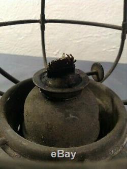 Antique R. E. Dietz New York USA 3 Conductor Railroad Lantern RARE No Globe LOOK
