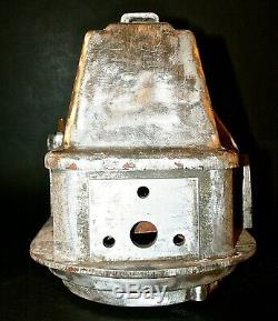 Antique Railroad Crossing Signal, Rare Lunar White Double Light Aluminium Base