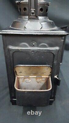 Antique Railroad Lantern with Burner & Match Holders