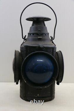 Antique Railroad Train Signal Light Lamp Lantern With Fuel Pot & Wick