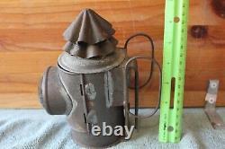 Antique Tin Metal Oil Lamp Railroad Ship Lantern Clear Glass bubble Miners light