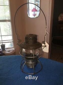 Antique Vintage AT&SF RY Railroad Kerosene Lantern withclear Embossed Globe