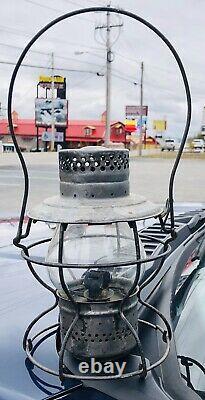 Antique Vintage Mopac Missouri Pacific Handlan Railroad Lantern Etched Globe
