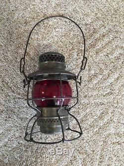 Antique vintage ADLAKE KERO Railroad Lantern with Cast Red Globe 1921-1923